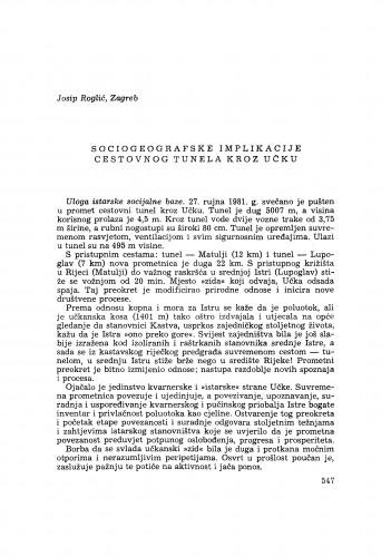 Sociogeografske implikacije cestovnog tunela kroz Učku / J. Roglić