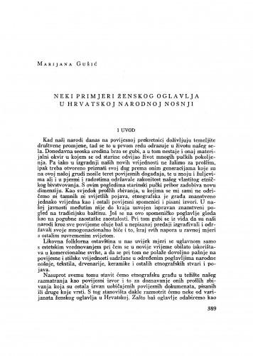 Neki primjeri ženskog oglavlja u hrvatskoj nošnji / M. Gušić