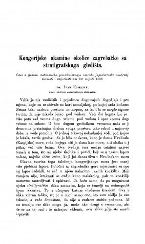 Kongerijske okamine okolice zagrebačke sa stratigrafskoga gledišta