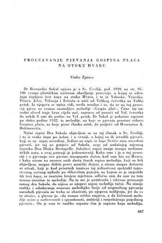 Proučavanja pjevanja Gospina plača na otoku Hvaru / V. Žganec