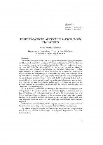 Temporomandibular disorders - problems in diagnostics