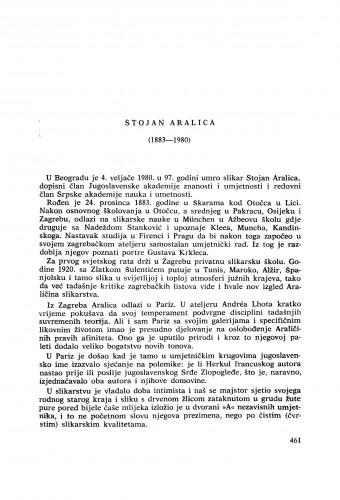 Stojan Aralica (1883-1980) : [komemoracija i nekrolozi] / M. Tartaglia