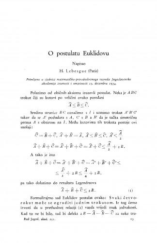 O postulatu Euklidovu