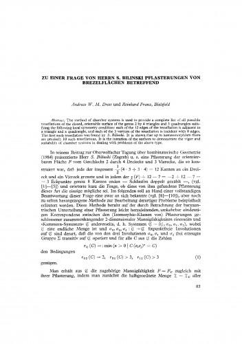 Zu einer Frage von Herrn S. Bilinski Pflasterungen von Brezelflaechen betreffend