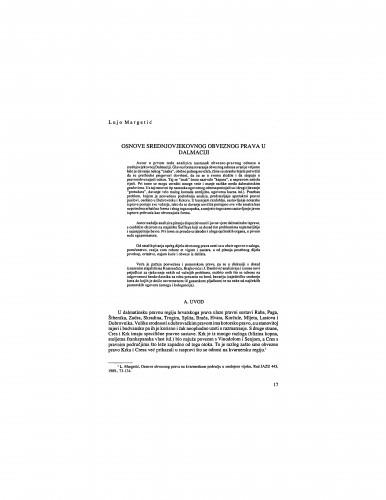 Osnove srednjovjekovnog obveznog prava u Dalmaciji