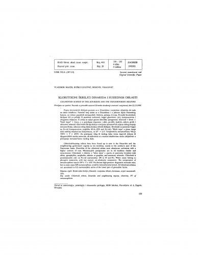 Kloritoidni škriljci Dinarida i susjednih oblasti