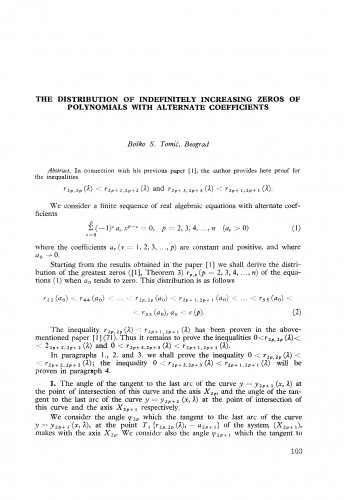 The distribution of indefinitely increasing zeros of polynomials with alternate coefficients