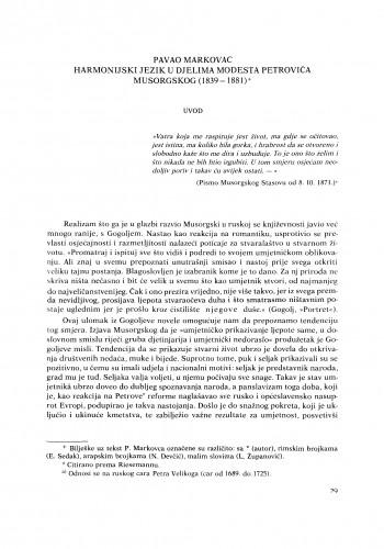 Harmonijski jezik u djelima Modesta Petroviča Musorgskog (1839-1881)