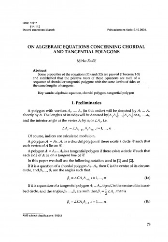 On algebraic equations concerning chordal and tangential polygons
