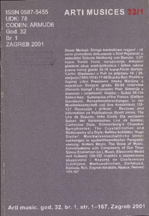 God. 32(2001), br. 1 : Arti musices
