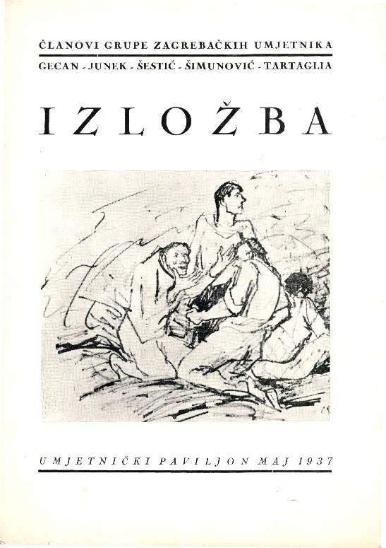 Članovi Grupe zagrebačkih umjetnika Gecan - Junek - Šestić - Šimunović - Tartaglia