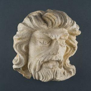 Muška glava s bujnom kosom, bradom i brkovima