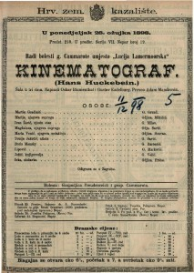 Kinematograf Šala u tri čina / Napisali Oskar Blumenthal i Gustav Kadelburg  =  Hans Huckebein