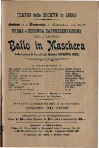 Ballo in Maschera Melodramma in tre atti / del Maestro Giuseppe Verdi