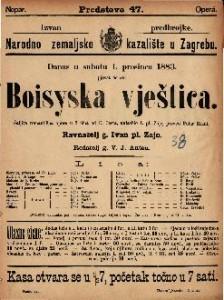 Boisyska vještica Šaljiva romantična opera u 3 čina / uglasbio I. pl. Zajc