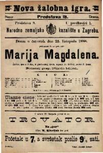 Marija Magdalena Žalobna igra u 3 čina, iz gradjanskog života / napisao Fr. Hebbel