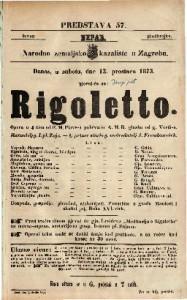 Rigoletto Opera u 4 čina / od F. M. Piave-a pohrvatio A. M. B. glasba od g. Verdi-a