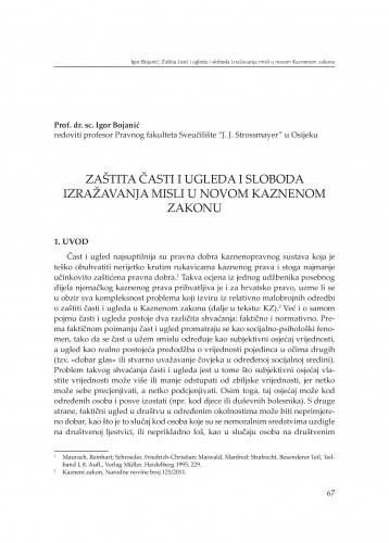 Zaštita časti i ugleda i sloboda izražavanja misli u novom kaznenom zakonu : [izlaganje] : Modernizacija prava