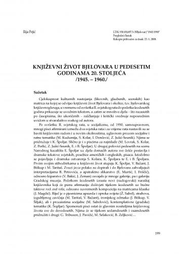 Književni život Bjelovara u pedesetim godinama 20. stoljeća (1945.-1960.) : Radovi Zavoda za znanstvenoistraživački i umjetnički rad u Bjelovaru