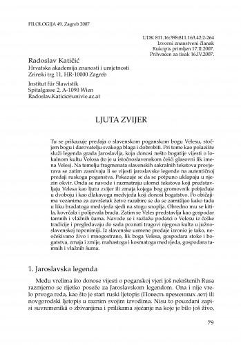 Ljuta zvijer : Filologija : časopis Razreda za filološke znanosti Hrvatske akademije znanosti i umjetnosti