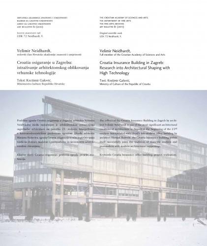 Velimir Neidhardt: Croatia osiguranje u Zagrebu: istraživanje arhitektonskog oblikovanja vrhunske tehnologije : Art Bulletin