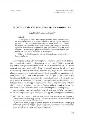 Mišićno-koštana prezentacija akromegalije