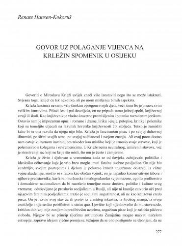 Govor uz polaganje vijenca na Krležin spomenik u Osijeku : Krležini dani u Osijeku