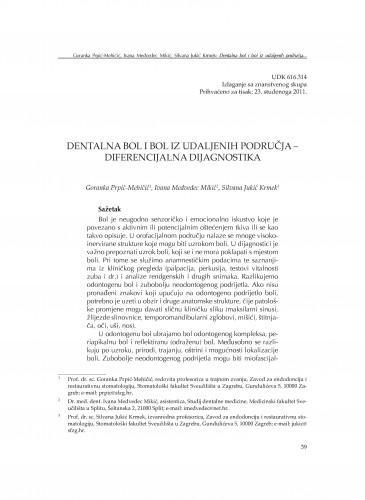 Dentalna bol i bol iz udaljenih područja - diferencijalna dijagnostika