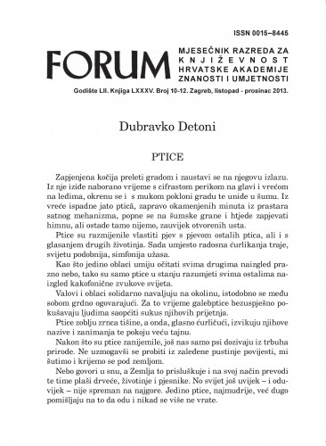 Ptice : Forum : mjesečnik Razreda za književnost Hrvatske akademije znanosti i umjetnosti.