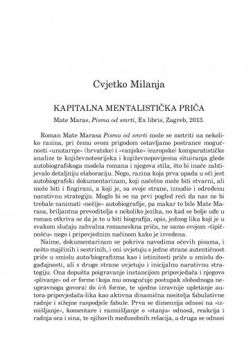 Kapitalna mentalistička priča : Mate Maras: Pisma od smrti, Ex libris, Zagreb, 2013. : [prikaz] : Forum : mjesečnik Razreda za književnost Hrvatske akademije znanosti i umjetnosti.