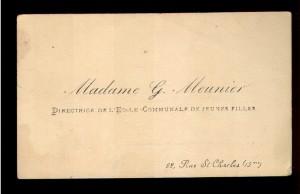 Madame G. Meunier directrice de l'ecole communale de jeunes filles