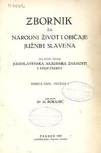 Knj. 31, sv. 1 (1937) : Zbornik za narodni život i običaje