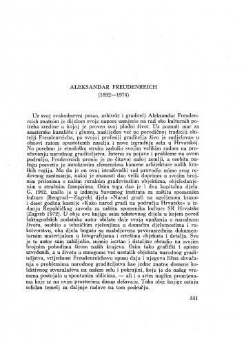 Aleksandar Freudenreich (1892-1974) : [nekrolog] / M. Gušić