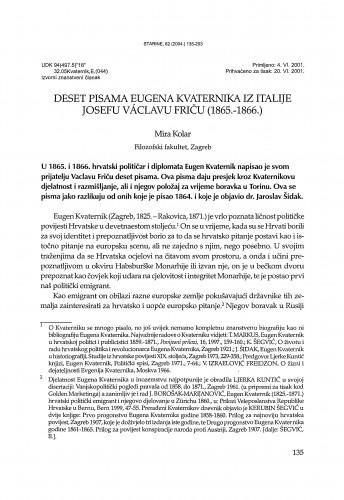 Deset pisama Eugena Kvaternika iz Italije Josefu Václavu Friču (1865.-1866.) / Mira Kolar