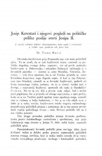 Josip Keresturi i njegovi pogledi na političke prilike poslije smrti Josipa II.
