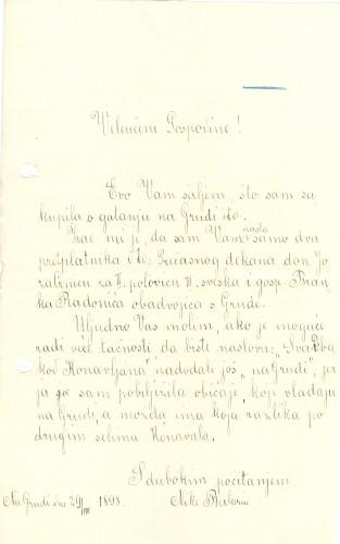 Pismo učiteljice Nike Balarin upućeno dr. Antunu Radiću