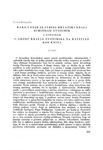 Kako i gdje je svršio hrvatski kralj Dimitrije Zvonimir, s dodatkom: O grobu kralja Zvonimira na Kaptolu kod Knina
