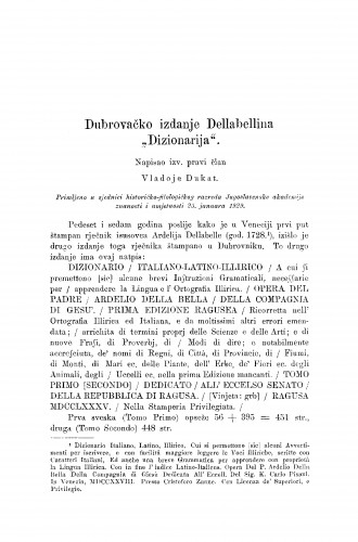 Dubrovačko izdanje Dellabellina