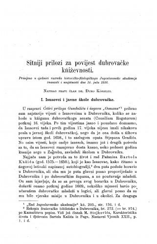 Sitniji prilozi za povijest dubrovačke kńiževnosti