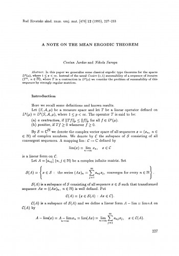 A note on the mean ergodic theorem