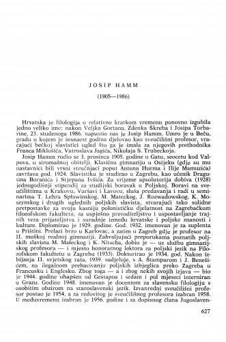 Josip Hamm (1905-1986) : [nekrolozi] / Eduard Hercigonja