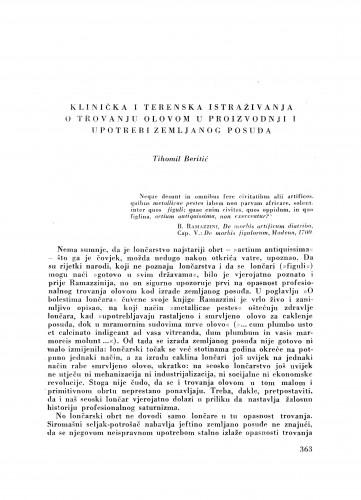 Klinička i terenska istraživanja o trovanju olovom u proizvodnji i upotrebi zemljanog posuđa : Ljetopis