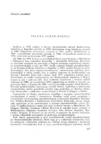 Jelena Aurer-Koželj : [biografije novih članova Akademije]