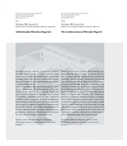 Arhitektonika Miroslava Begovića : Art Bulletin