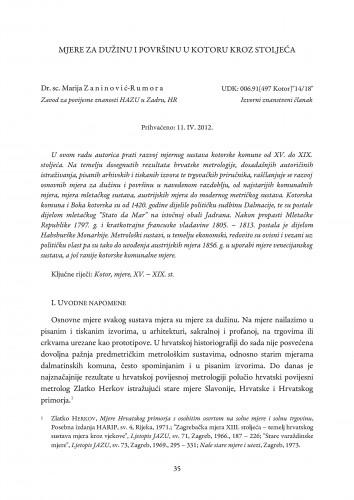 Mjere za dužinu i površinu u Kotoru kroz stoljeća : Radovi Zavoda za povijesne znanosti HAZU u Zadru