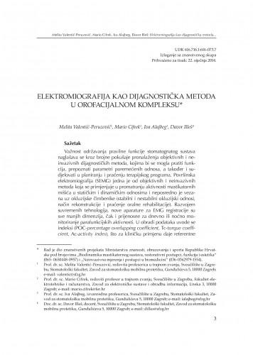 Elektromiografija kao dijagnostička metoda u orofacijalnom kompleksu