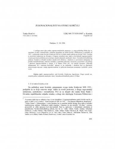 Jugonacionalisti na otoku Korčuli : Radovi Zavoda za povijesne znanosti HAZU u Zadru