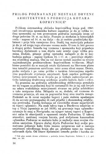 Prilog poznavanju nestale drevne arhitekture s područja Kotar Koprivnice : Bulletin Razreda za likovne umjetnosti Hrvatske akademije znanosti i umjetnosti