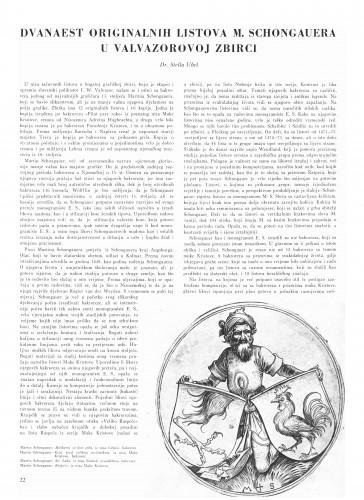 Dvanaest originalnih listova M. Schongauera u Valvazorovoj zbirci : Bulletin Instituta za likovne umjetnosti Jugoslavenske akademije znanosti i umjetnosti