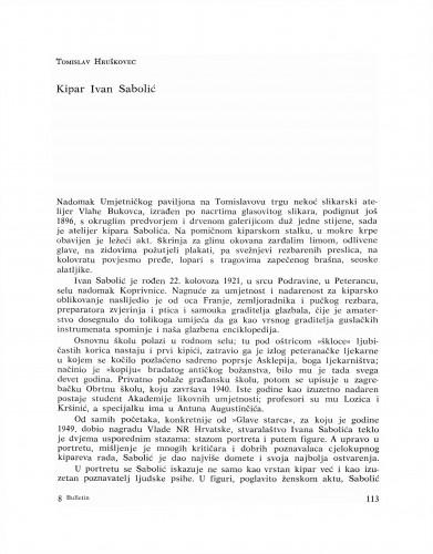 Kipar Ivan Sabolić : Bulletin Razreda za likovne umjetnosti Jugoslavenske akademije znanosti i umjetnosti